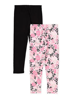 Girls 7-16 Floral and Solid Leggings Set - 1623061950056