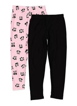 Girls 7-16 Solid And Panda Print Leggings Set - 1623061950060