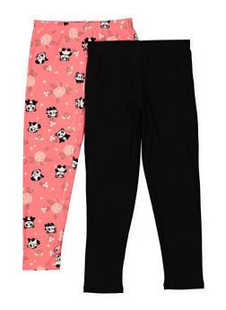 Girls 5-16 Set of 2 Floral Panda and Solid Leggings - 1623061950062