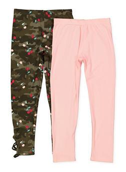 Girls 7-16 Solid and Cherry Camo Print Leggings Set - 1623061950063