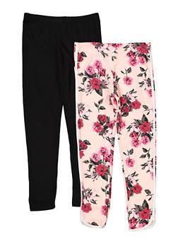 Girls 7-16 Set of 2 Solid Floral Leggings | 1623061950066 - 1623061950066