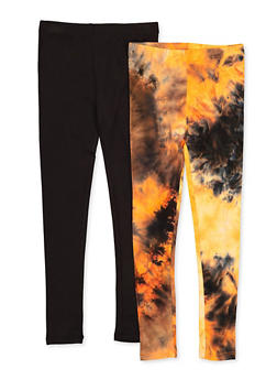 Girls 7-16 Two Pack Tie Dye and Solid Leggings - 1623066590001