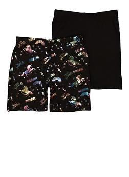 Girls 2 Pack Love Yourself Foil Print Biker Shorts - 1623066590026