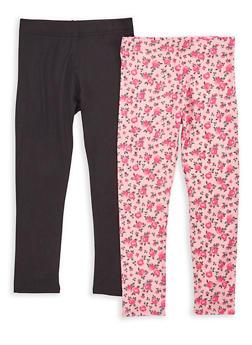 Girls 7-16 Rose Print and Solid Leggings - 1623073990001