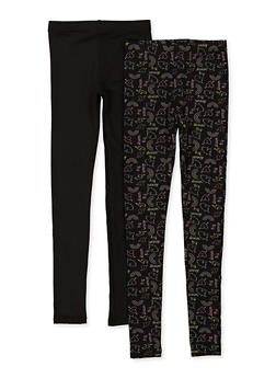 Girls 7-16 2 Pack Fleece Lined Solid and Printed Leggings - 1623074410003