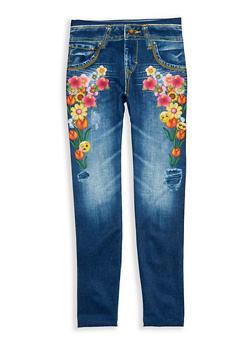 Girls 7-16 Denim Emoji Floral Print Leggings - 1623074530001