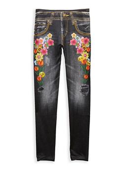 Girls 7-16 Denim Emoji Floral Print Leggings - 1623074530002