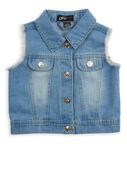 Girls 4-6x Frayed Denim Vest - 1626038340028