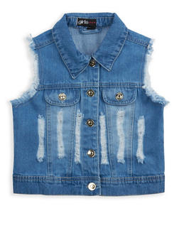 Girls 4-6x Distressed Denim Vest - 1626038340029
