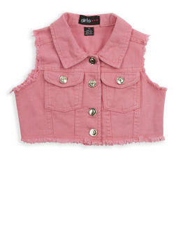 Girls 4-6x Cropped Denim Vest - 1626038340033