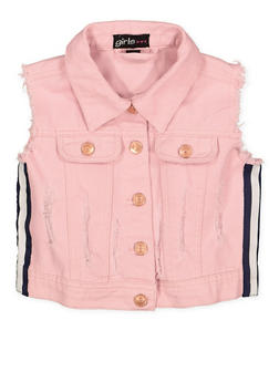 Girls 4-6x Striped Tape Frayed Denim Vest - 1626038340041