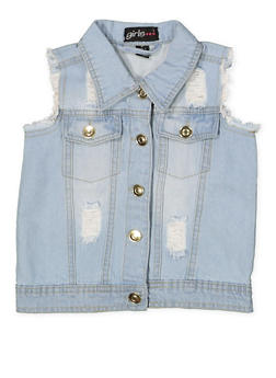 Girls 4-6x Frayed and Distressed Denim Vest - 1626038340042