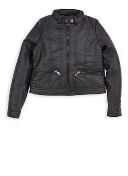 Girls 4-6x Black Faux Leather Moto Jacket - 1626051060044