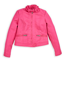 Girls 4-6x Fuchsia Faux Leather Moto Jacket - 1626051060045