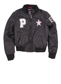 Girls 4-16 Black Faux Leather Bomber Jacket with Patches - 1626051060047
