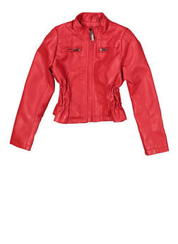 Girls 4-6x Ruched Faux Leather Jacket - 1626051060080