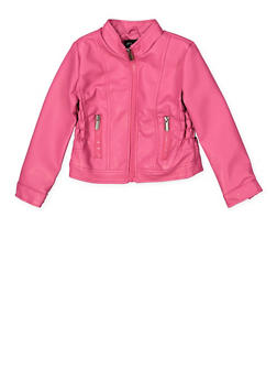 Girls 4-6x Smocked Faux Leather Jacket - 1626051060081