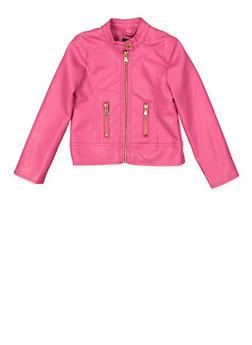 Girls 4-6x Faux Leather Moto Jacket - 1626051060082