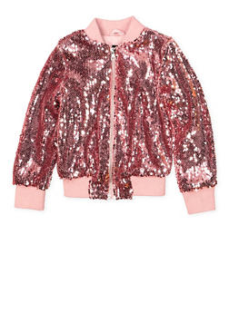 Girls 4-6x Sequin Bomber Jacket - 1626051060083