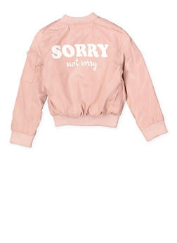 Girls 4-6X Sorry Not Sorry Graphic Bomber Jacket - 1626051060085
