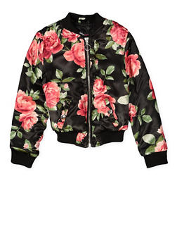 Girls 4-6x Floral Bomber Jacket - 1626051060087