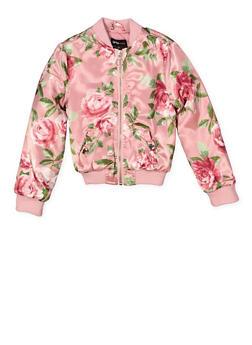 Girls 4-6x Floral Bomber Jacket - 1626051060087