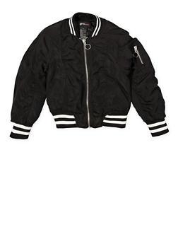 Girls 4-6x Ruched Striped Trim Bomber Jacket - 1626051060089