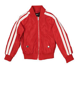 Girls 4-6x Varsity Stripe Bomber Jacket | Red - 1626051060095