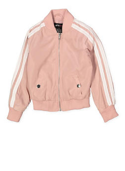 Girls 4-6x Varsity Stripe Bomber Jacket | Pink - 1626051060096