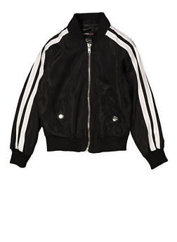 Girls 4-6x Varsity Stripe Bomber Jacket | Black - 1626051060097