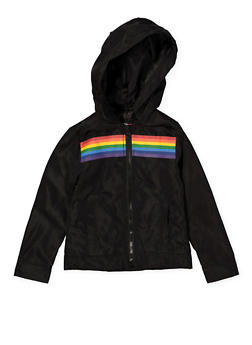 Girls 4-6x Black Rainbow Stripe Windbreaker - 1626051060098