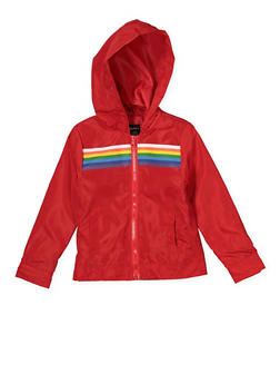 Girls 4-6x Red Rainbow Stripe Windbreaker - 1626051060099