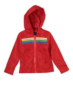 Girls 4-6x Red Rainbow Stripe Windbreaker - 1626051060099