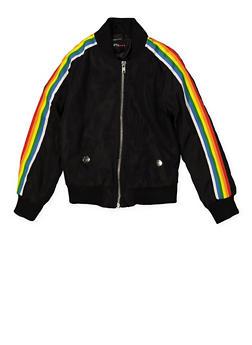 Girls 4-6x Rainbow Striped Tape Bomber Jacket | Black - 1626051060105