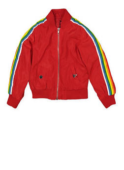 Girls 4-6x Rainbow Striped Tape Bomber Jacket | Red - 1626051060106