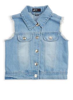 Girls 7-16 Frayed Denim Vest - 1627038340035