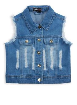 Girls 7-16 Distressed Denim Vest - 1627038340036