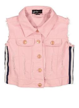 Girls 7-16 Striped Tape Denim Vest | 1627038340060 - 1627038340060
