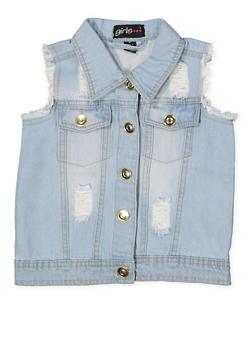 Girls 7-16 Frayed and Distressed Denim Vest - 1627038340062