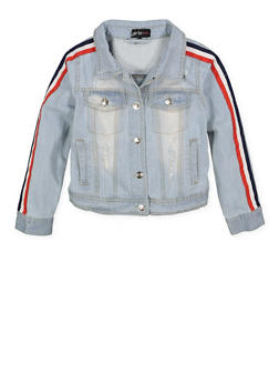 Girls 7-16 Tape Sleeve Denim Jacket - 1627038340067