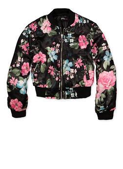 Girls 7-16 Floral Satin Bomber Jacket - 1627051060018