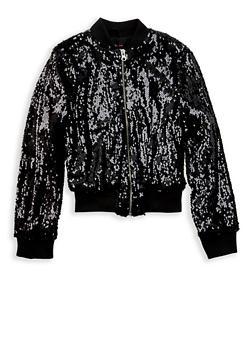 Girls 7-16 Black Sequin Bomber Jacket - 1627051060094