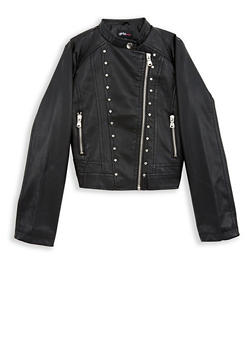 Girls 7-16 Studded Side Zip Faux Leather Jacket - 1627051060097