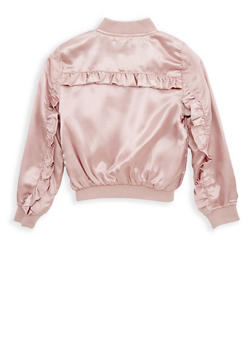 Girls 7-16 Ruffle Back Satin Bomber Jacket - 1627051060098