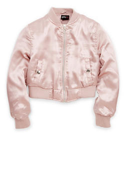 Girls 7-16 Solid Satin Bomber Jacket - 1627051060099