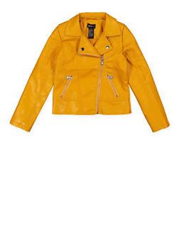 Girls 7-16 Quilted Shoulder Moto Jacket - 1627051060111