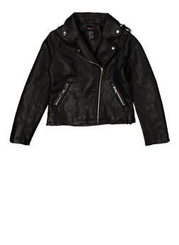 Girls 7-16 Asymmetrical Zipper Moto Jacket - 1627051060112