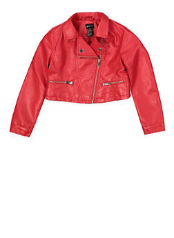 Girls 7-16 Asymmetrical Zip Moto Jacket - 1627051060113