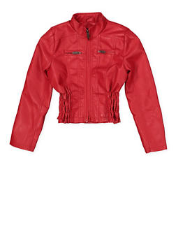 Girls 7-16 Ruched Faux Leather Jacket - 1627051060114