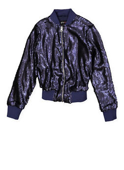 Girls 7-16 Sequin Bomber Jacket - 1627051060116